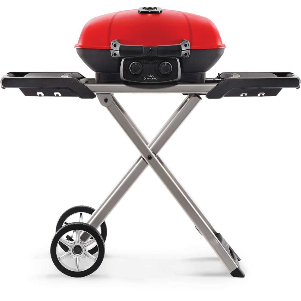 TravelQ™ 285X Portable Propane Gas Grill and Scissor Cart with Griddle